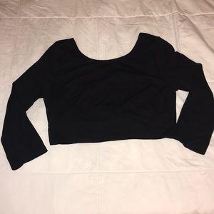 Black open back crop top